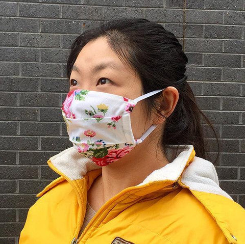 Fabric Face Mask with Filter Pocket - Vintage Rose