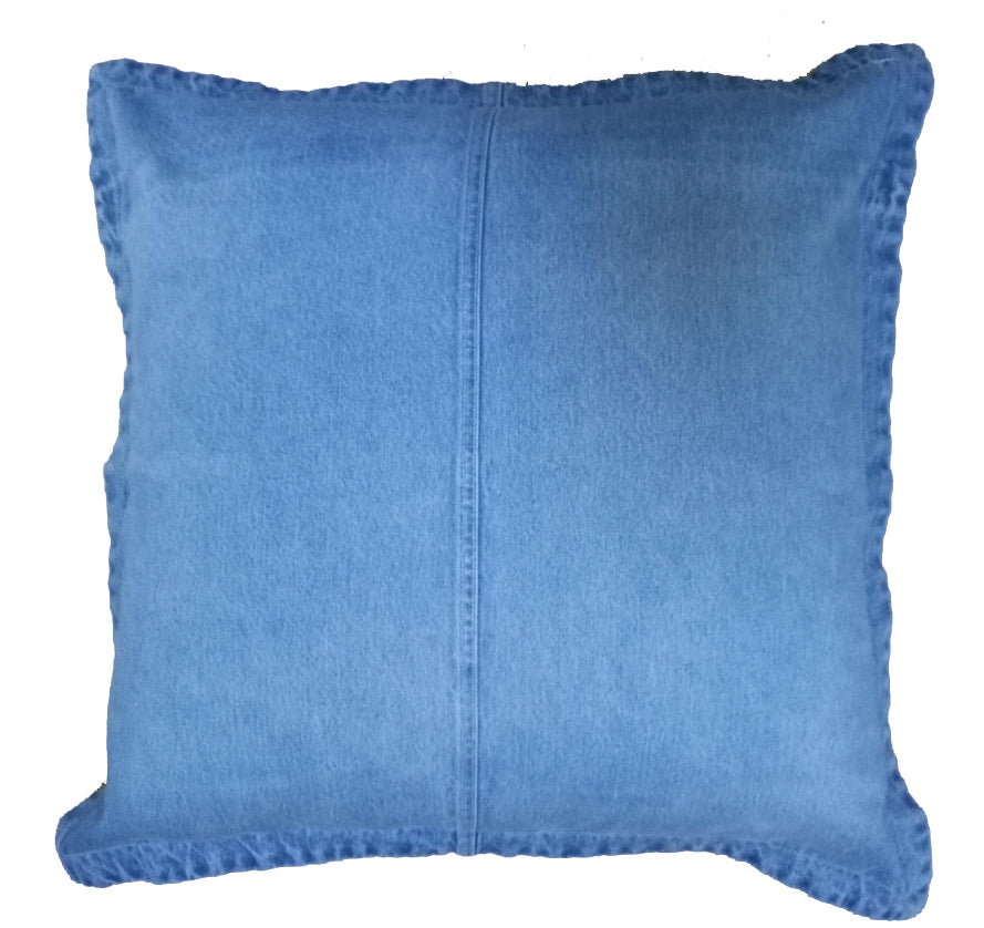 Superbleach wash distressed denim cushion