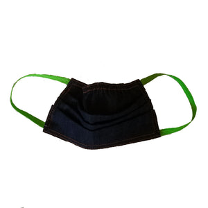 Black denim face mask with green elastic