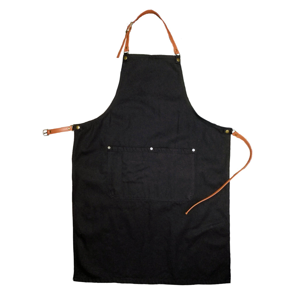 Black organic denim apron with leather straps