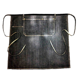 Flat lay view of black denim waist apron