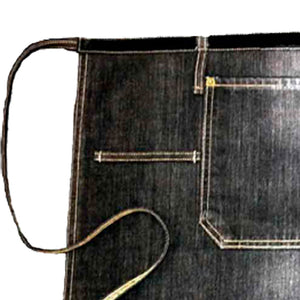 Detailed view of Black denim waist apron