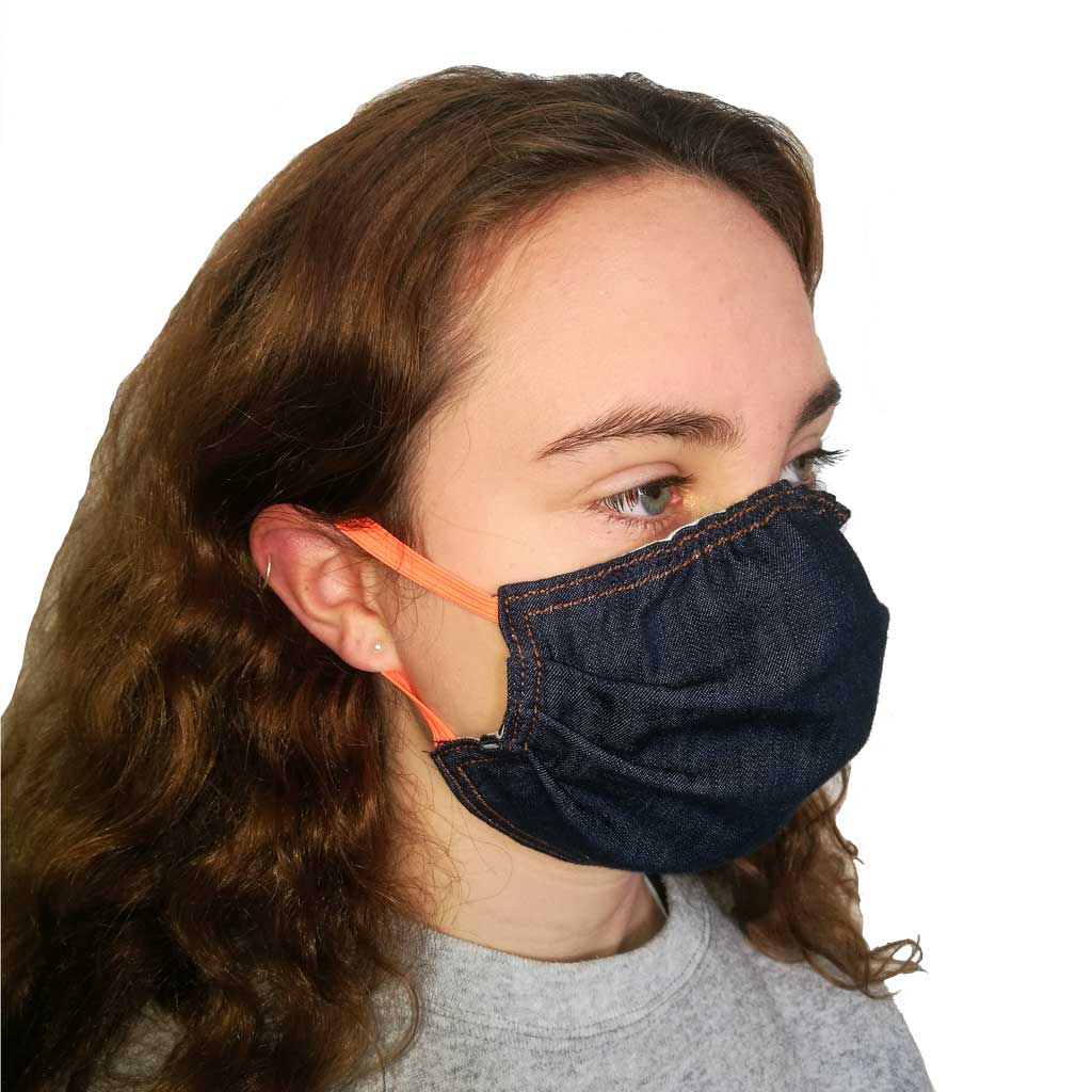 Denim face mask with orange elastic