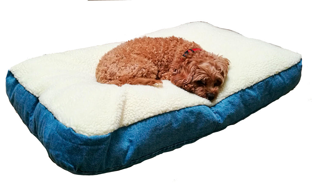 Sherpa Reversible Pet Bed with Eco Fill and leather handle in GOTS Certified Organic Denim | Golden Monkey - Golden Monkey