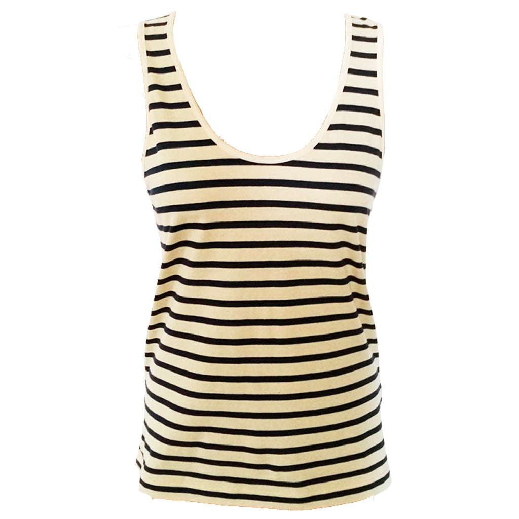 Womens' Navy Breton Stripe Sleeveless Tank in Organic Cotton | Golden Monkey - Golden Monkey