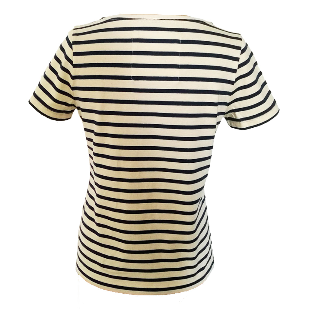 Navy Breton organic tee back fitting view