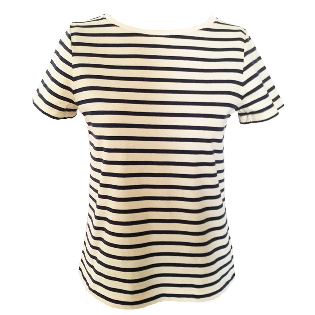Navy Breton organic tee front fitting view
