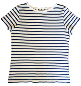 Womens' Navy Breton Stripe T-Shirt in Organic Cotton | Golden Monkey - Golden Monkey