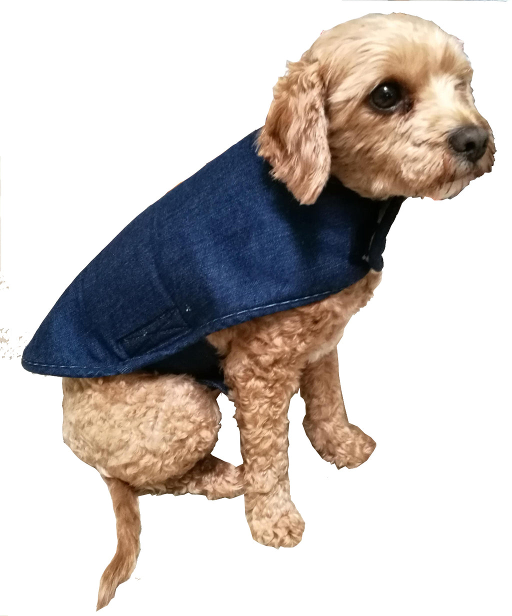 Sherpa fleece and denim reversible dog coat | Golden Monkey - Golden Monkey