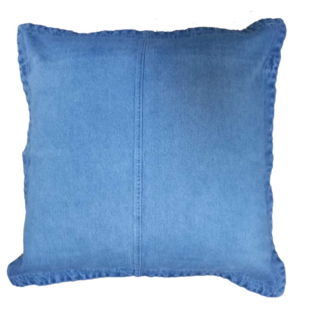 Scatter Cushion in GOTS Certified Organic Denim in Mid Wash | Golden Monkey