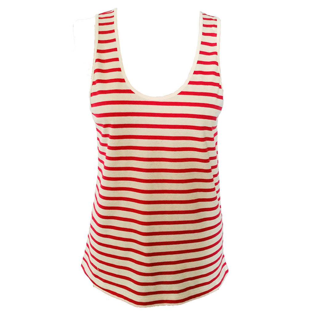 Womens' Red Breton Stripe Sleeveless Tank in Organic Cotton | Golden Monkey - Golden Monkey