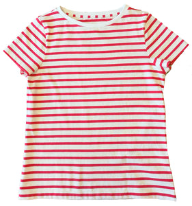 Womens' Red Breton Stripe T-Shirt in Organic Cotton | Golden Monkey - Golden Monkey