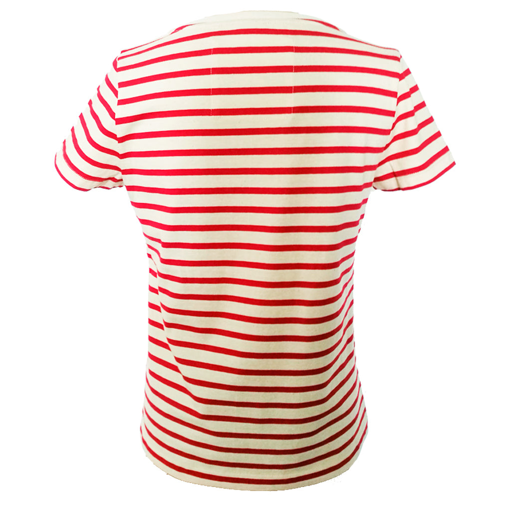 523be9d208 Womens' Red Breton Stripe T-Shirt in Organic Cotton | Golden Monkey