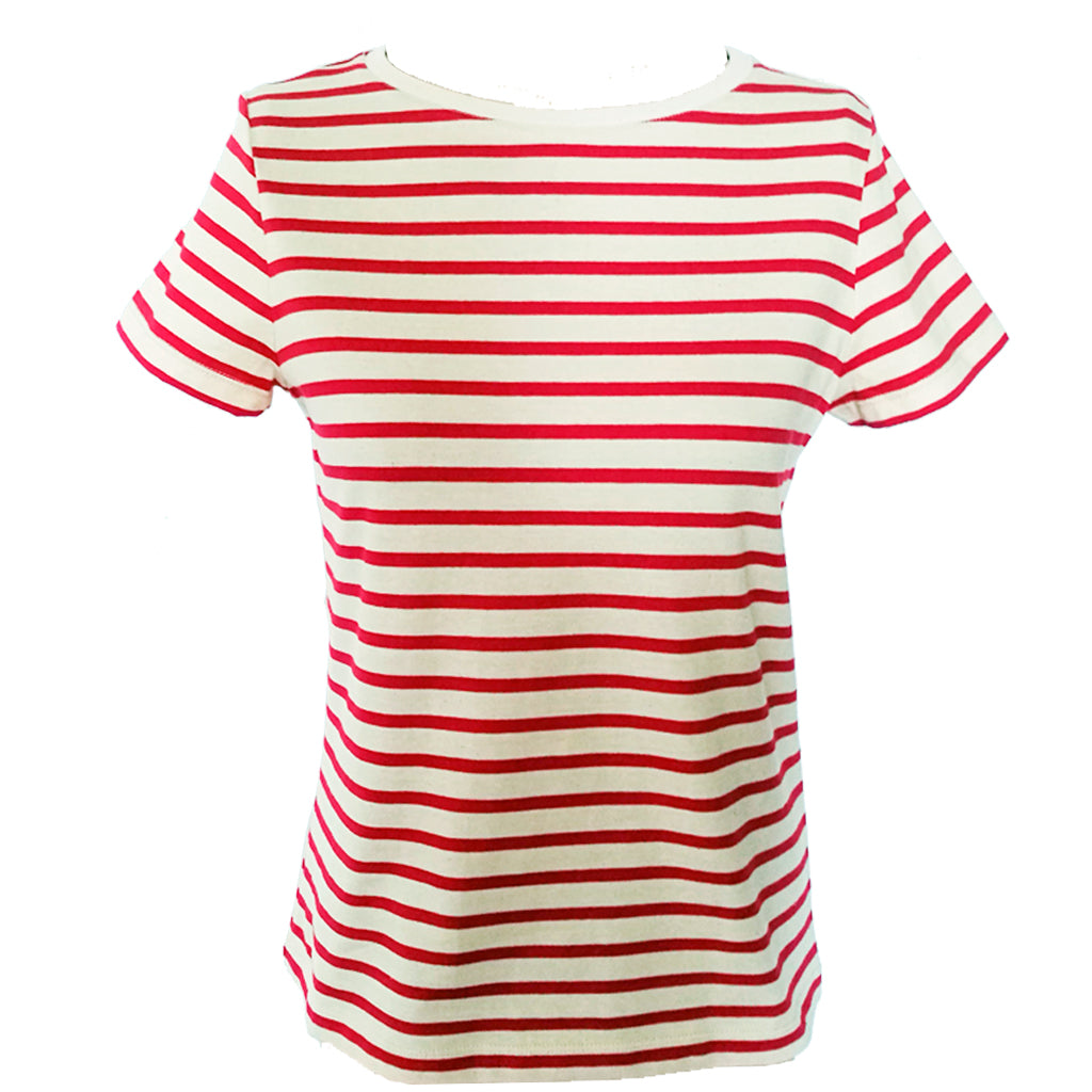Red breton organic tee front fitting view