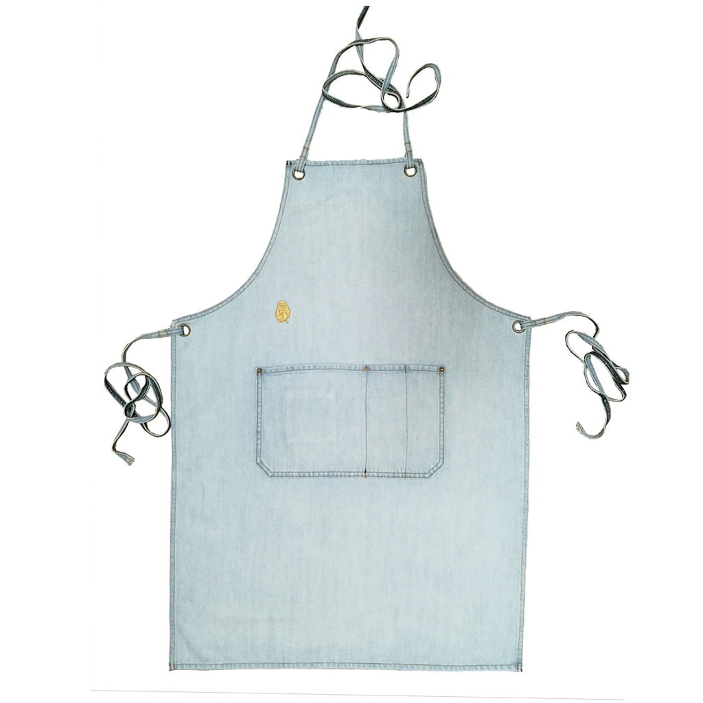 Superbleach Wash Denim Apron with front pocket | Golden Monkey - Golden Monkey