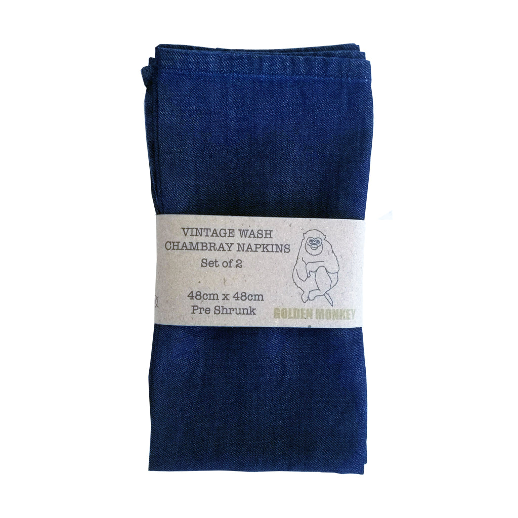 Chambray Napkins (set of 2) | Golden Monkey - Golden Monkey