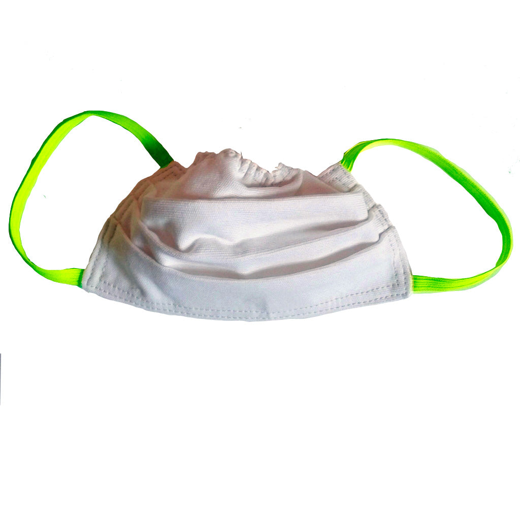 White with fluoro green elastic face mask