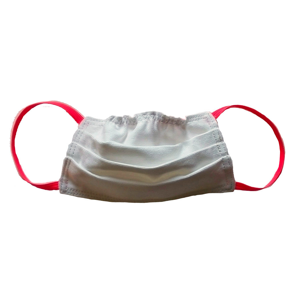 White with fluoro pink elastic face mask