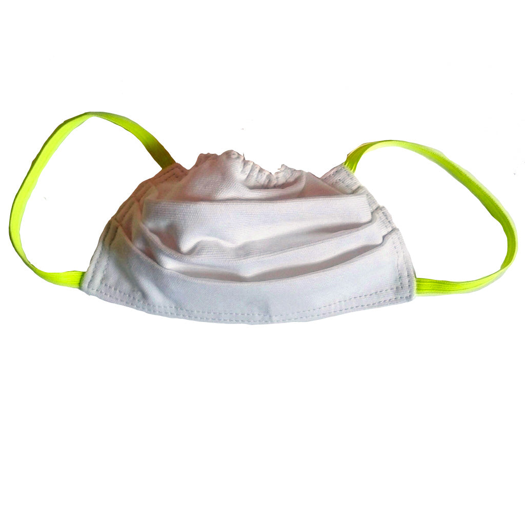 White with hi vis yellow elastic face mask