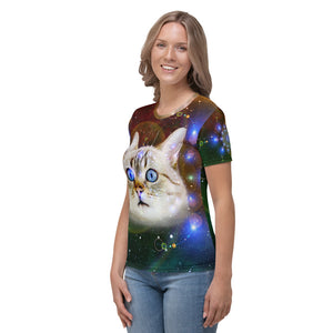 Universe Cat Galaxy Print Cat Women's T-shirt