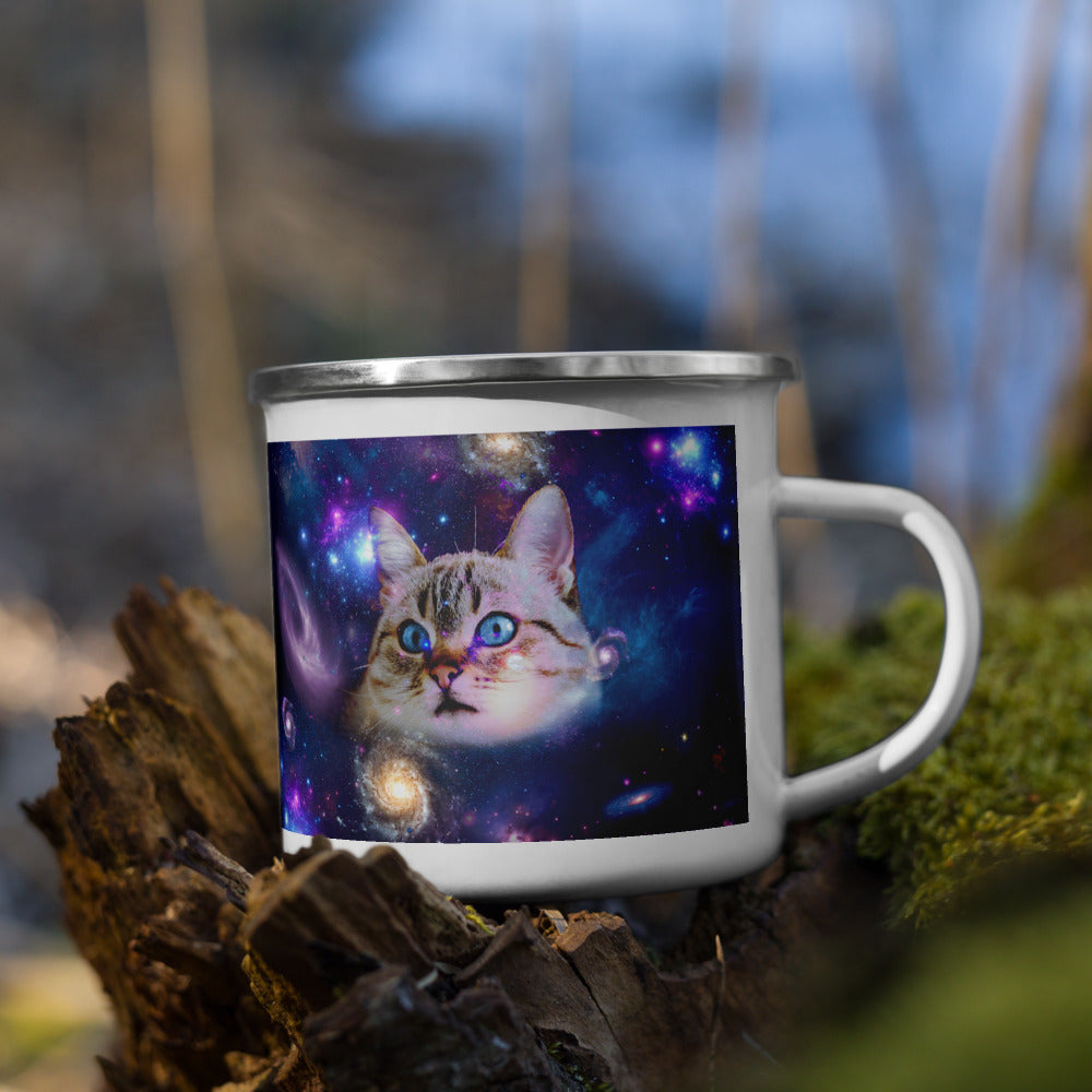 Universe Cat with Galaxy Print Enamel Mug