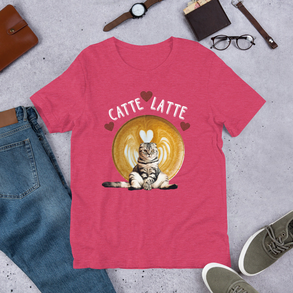 Catte Latte heart Cat shirt Short-Sleeve Unisex T-Shirt