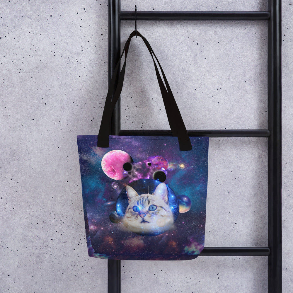 Universe Cat with Planets Tote bag