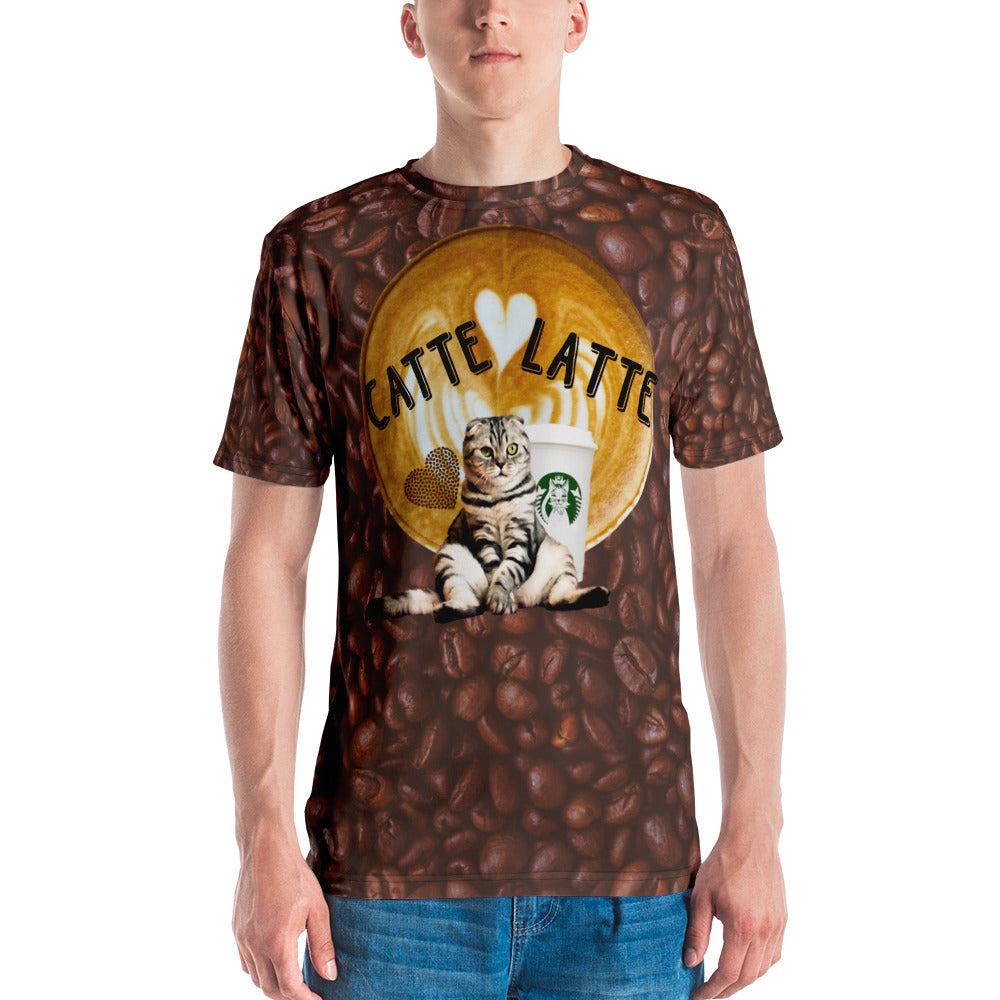 Catte Latte All over print coffee beans Men's T-shirt