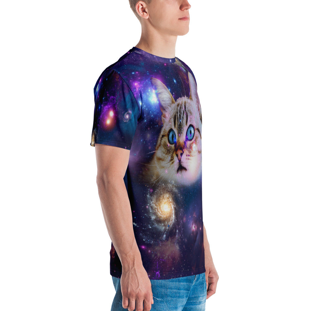 Universe Cat with Galaxy Print Mens T-shirt