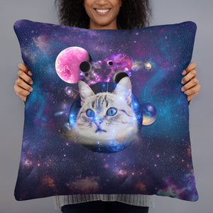 Universe Cat with Planets Basic Pillow