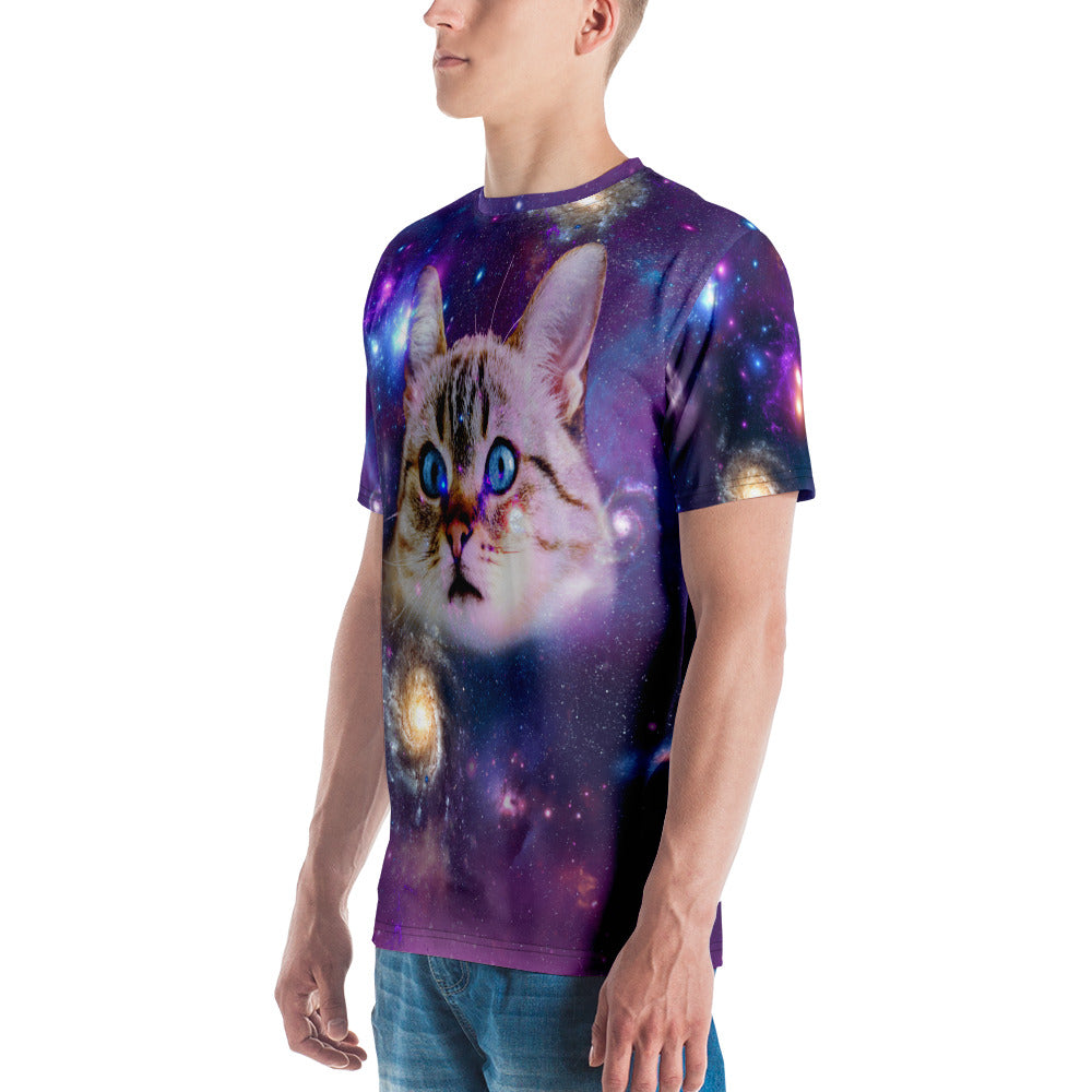 Universe Cat with Galaxy Print Men's T-shirt