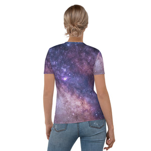 Universe Galaxy Print Cat Women's T-shirt