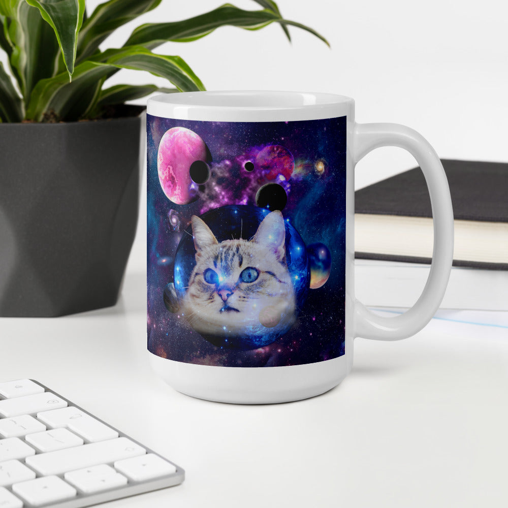 Universe Cat with Planets Mug