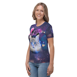 Universe Cat with Planets Women's T-shirt