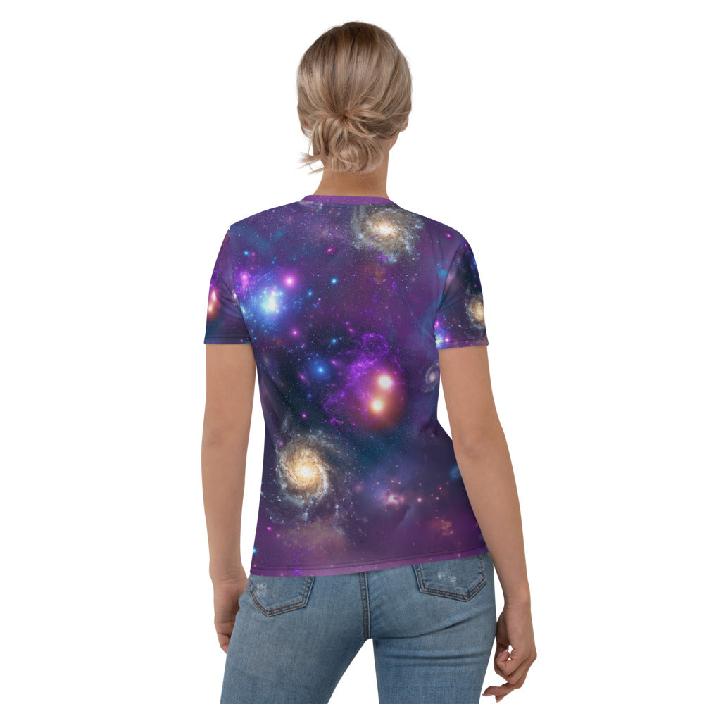 Universe Cat with Galaxy Print Women's T-shirt
