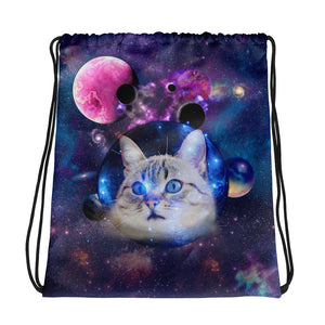 Universe Cat with Planets Drawstring bag