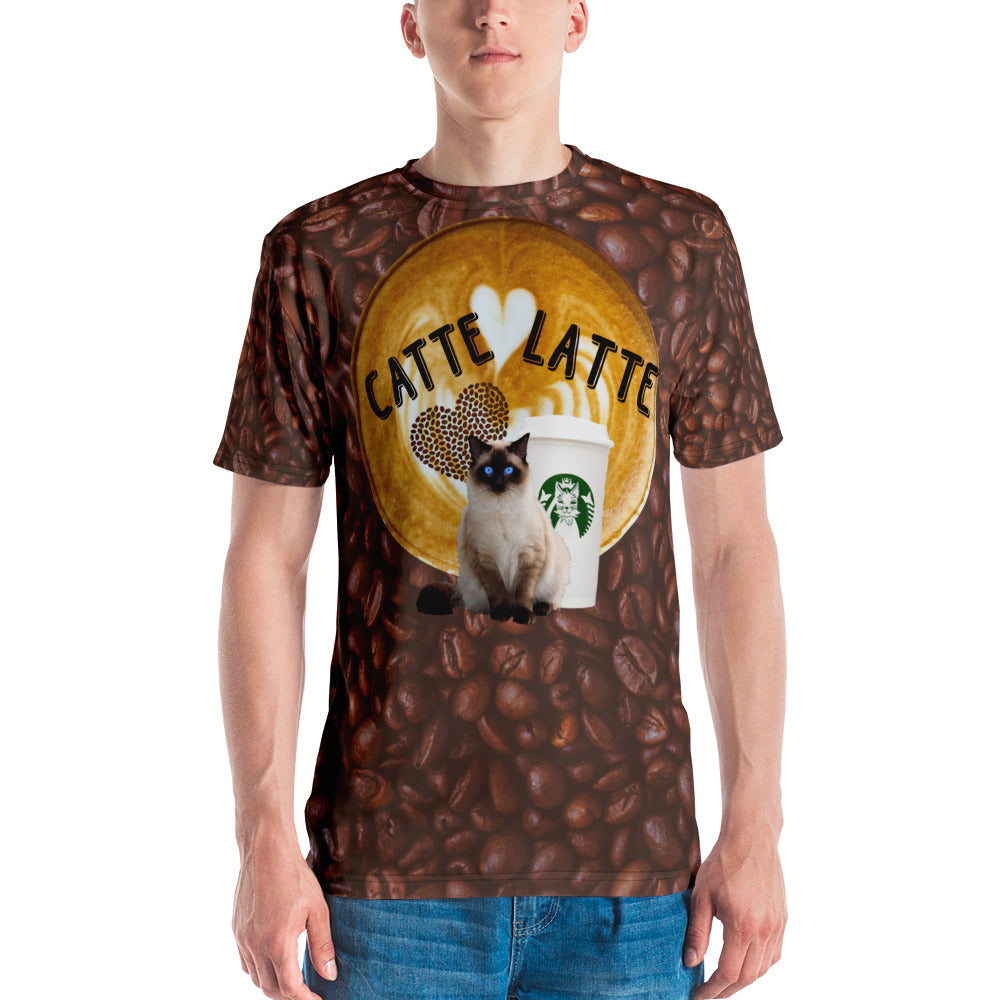 Catte Latte Siamese all over print coffee beans Men's T-shirt