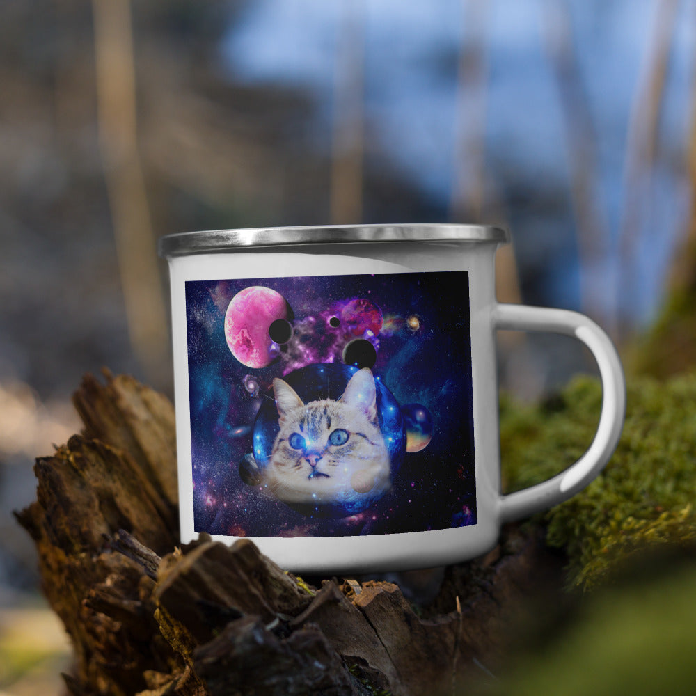 Universe Cat with Planets Enamel Mug