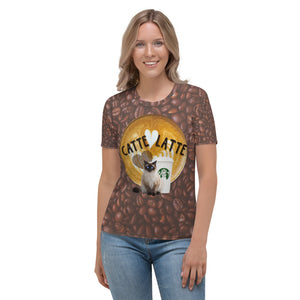 Catte Latte with Coffee Beans Women's T-shirt