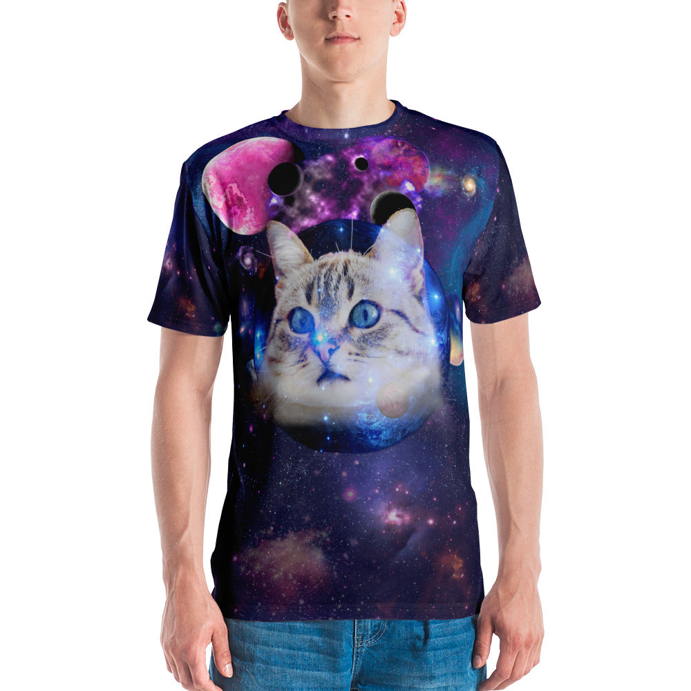Universe Cat with Planets Mens T-shirt