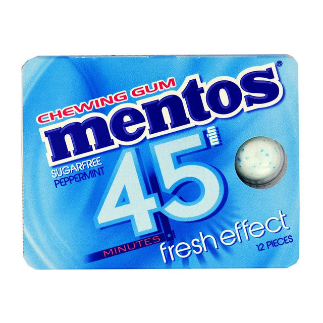 MENTOS CHICKLES PEPPERMINT 45MIN 12T BLISTER 18GR