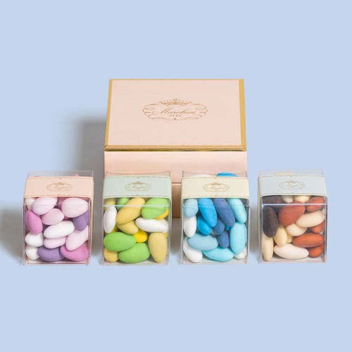 COLOURFUL SUGARED ALMONDS, FOUR 5 X 5 CUBES