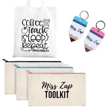 Load image into Gallery viewer, Teachers toolkit bundle with oencil case, keyring and tote bag