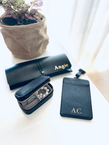 Personalised ID and card holder - Black