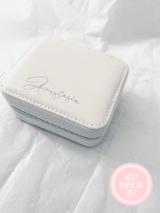 Monogrammed Travel Jewellery Case - White