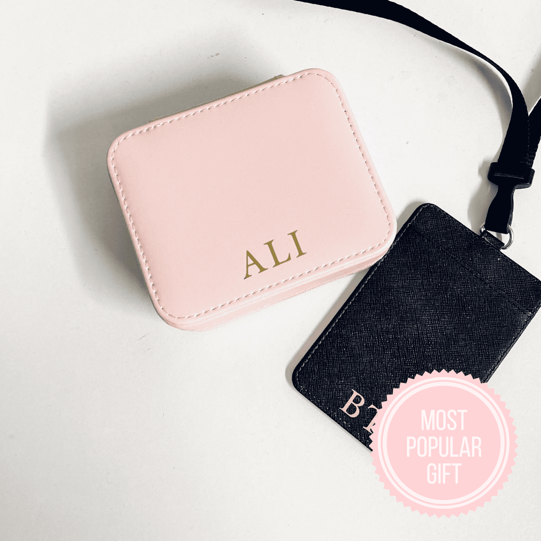 Monogrammed Travel Jewellery Case - Pink