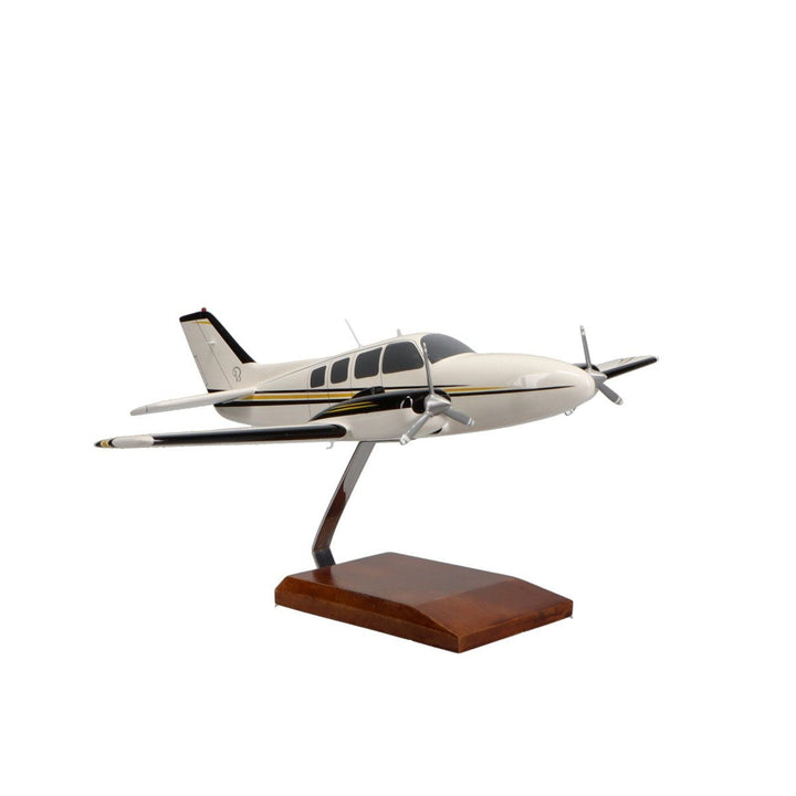Aircraft Models - Beechcraft Baron G58 (Yellow/Black) Limited Edition Large Mahogany Model