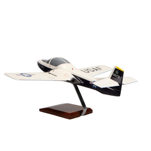 Aircraft Models - Cessna T-37B Tweetie Bird (Blue/White) Limited Edition Large Mahogany Model