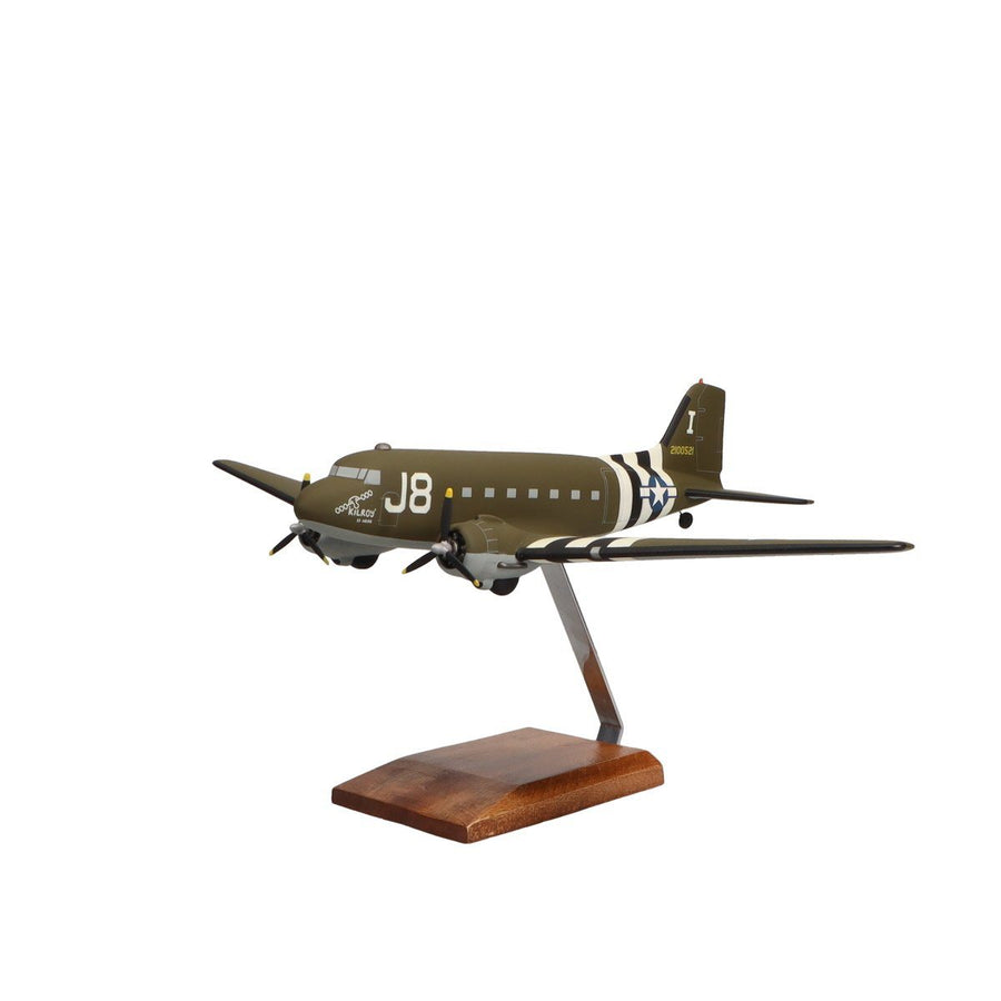 "Aircraft Models - Douglas C-47A Skytrain ""Kilroy Is Here"" Limited Edition Large Mahogany Model"