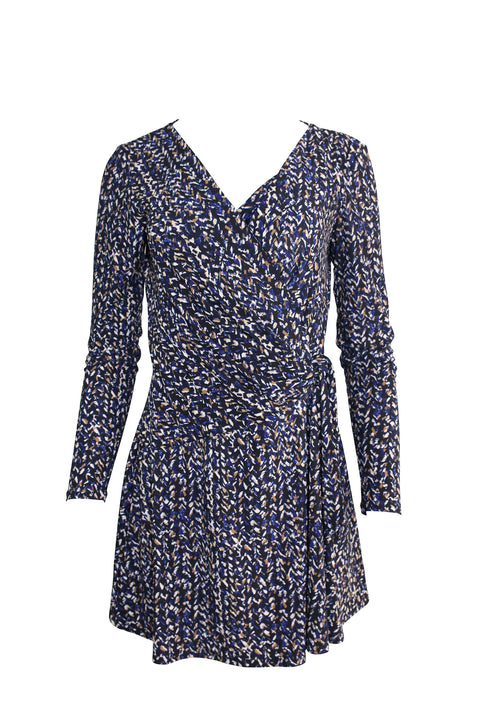 Wraparound Blue Patterned Dress